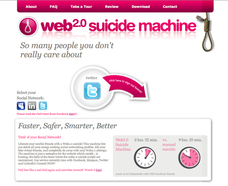 moddr Web 2.0 Suicidemachine