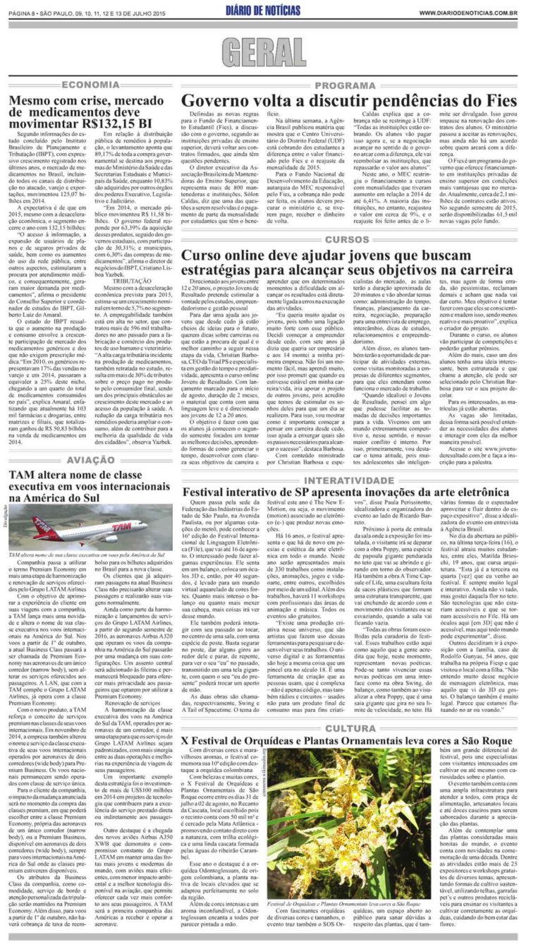09-07-2015 - Diário de Notícias de São Paulo - SP
