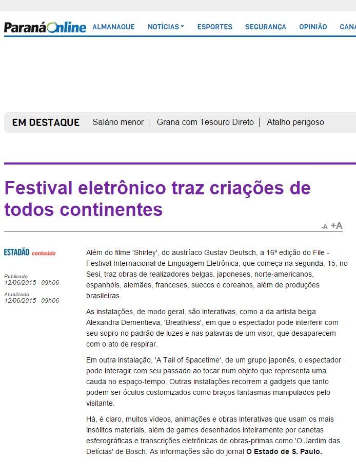 12-06-2015 - Paraná Online - PR